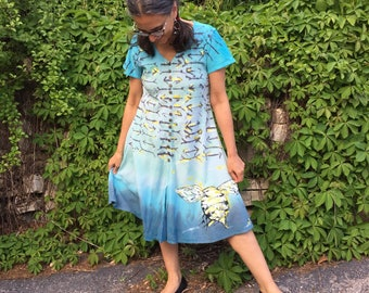 Bee Hive Dress - Hand Painted and Dyed Cotton -Fair Trade, calf length, v-neck women's long dress, bees, ladies handmade clothing, OOAK