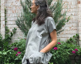 Grey Cube Tunic - Fits XS-M -Handmade Fair Trade Tunic overshirt, grey cotton big pocket tunic top, loose shirt, zen nomad style clothing