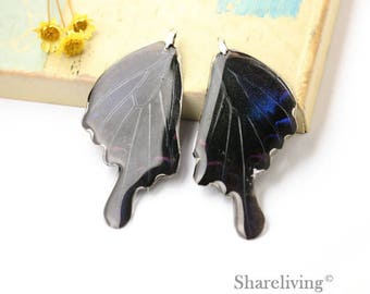 4pcs Handmade Large Real Butterfly Wing Charm / Pendant, Cover Resin with Silver Bail, Perfect for Earring / Necklace - RW002H