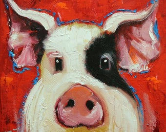 Pig painting 262 12x12 inch original oil painting by Roz