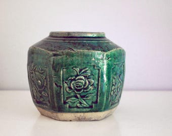 Hexagonal Ginger Jar, Chinese Green Pot, Chinoiserie, Antique Earthenware Pottery, Rustic Kitchen Storage, Teal Blue-Green Asian Decor