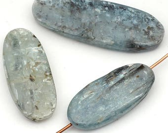 3 pcs large freeform oval kyanite beads, flat smooth light blue semiprecious stone assorted size, 3 pcs