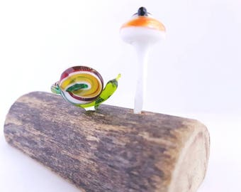 Snail and Toadstool Shelf Art,Lampwork Gardeners Gift,Fake Plant,Mushroom House Warming Gift, Gift Under 50,Shelf Fungi, Nature Inspired Art