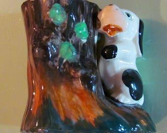 Vintage Dog and Tree Ceramic Posey Planter Very Cute!