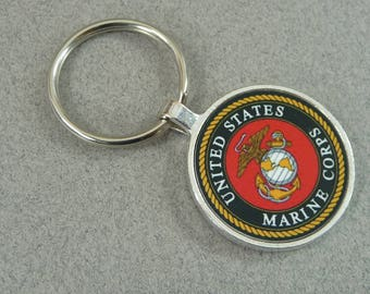 USMC KEY CHAIN Marine Key Ring Fob Beautiful Military Logo Gifts for Him Her Wife Girlfriend Spouse Round Pendant
