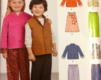 Child' Sewing Pattern New Look 6408 Jacket, Vest, Dress, and Pants Size 3-8 Uncut  Complete