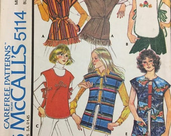 Vintage Misses' Vests Sewing Pattern McCall's 5114  Size Small Bust 32-34 inches Complete
