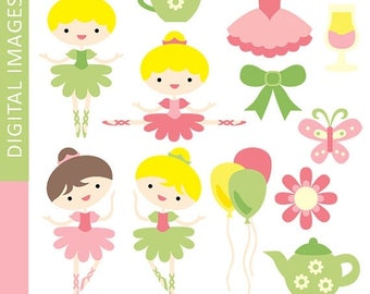 35% OFF SALE Cute dancing Ballerina party clipart - Pink Lime Green Tutu Girls clip art - Digital Images, commercial use