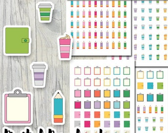 Stickers planner printable pdf download / coffee cup sticker, diary, journal, planner, pencil / erin condren planner stickers, pastel colors