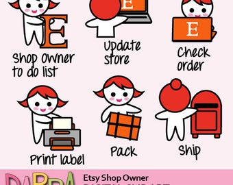 Etsy clipart / Etsy shop owner to do list clipart planner stickers download, commercial use clip art / etsy planner girl clipart