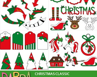 Christmas clipart bundle sale / Christmas clip art red green commercial use digital images / arrows, tags, unicorns
