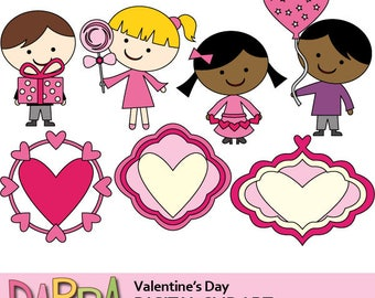 Valentine's day clipart, digital stamps / valentine clip art commercial use / kids, tags, frames digital graphic, instant download
