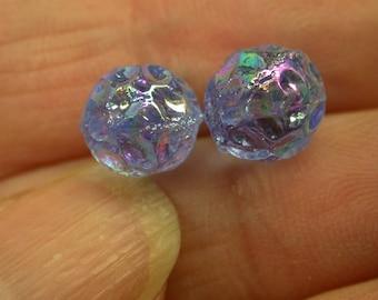 VINTAGE GERMAN Glass Beads Blue Aurora Borealis Dimpled Iridescent 9mm pkg 2 gl476