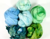 field of clover .. wool roving set, weaving creative yarn bundle, handspinner, hand dyed merino wool, hand spinning