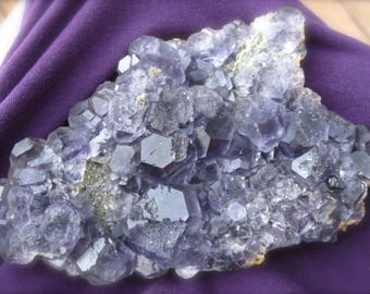 Fluorite stone Blue Purple large plate natural