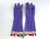 Designer Cleaning Gloves. Size Small. Holiday Latex Rubber Dish Gloves. Christmas Trees. Pink Green Red.