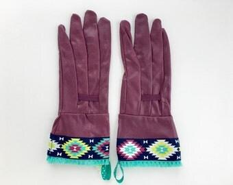 Designer Rubberized Garden Gloves. Southwestern Tribal Design. Fancy  Gardening Work Gloves For Women.