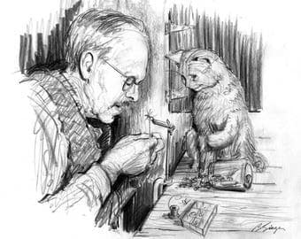 """Fly tying ... Funny 8""""X10"""" Trout fisherman and Cat Art Print Pencil Drawing by Barry Singer"""