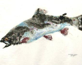 ORIGINAL Rainbow Trout GYOTAKU Fish Rubbing Art Lake House Decor on Best premium 24 X 30 Muslin