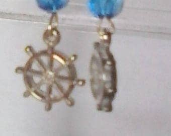 Silver Ship's Wheel Charm Earrings