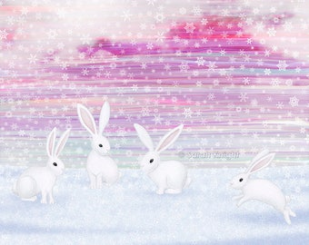 bunnies frolic in the snow - signed art print 8X10 inches by Sarah Knight, winter scene white rabbits snowflakes magenta mauve pink pastels