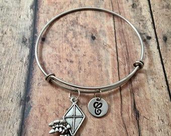 Kite initial bangle- kite jewelry, spring jewelry, kite festival jewelry, springtime bracelet, recreation jewelry, silver kite bracelet