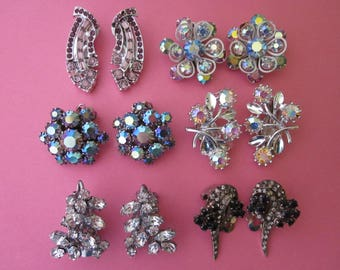 DeStash Rhinestone Clip Earrings  6 pairs