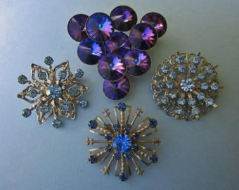 DeStash Vintage Rhinestone Brooches blues