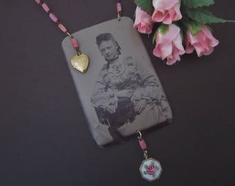 Antique Tintype Necklace Assemblage Miss Rosalie