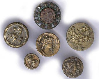 ASSORTED VINTAGE BUTTONS victorian brass mother pearl carved with steel cut inserts dog faces antique buttons