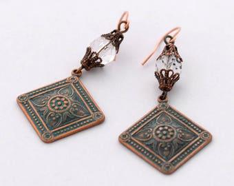Moroccan Tile Style Earrings, Art Deco Verdigris Copper Earrings, Green Earrings, Medallion Earrings, Geometric Earrings JewelryFineAndDandy