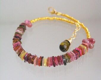 Tourmaline Vermeil Beaded Bracelet, Colorful Layering Bracelet, Slender and Delicate, Everyday Jewelry, Square Gemstones