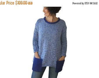 20% WINTER SALE Tweed Blue Tunic Sweater With Boat Neck and Pocket Detail