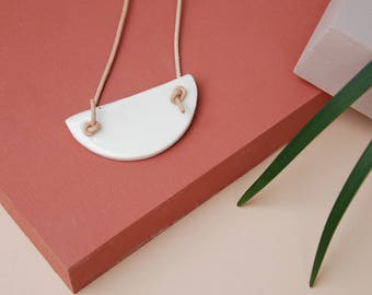 Ceramic Statement Necklace / White Porcelain Necklace / Geometric Necklace