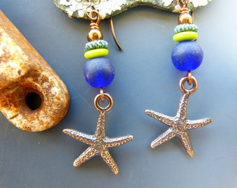 Copper Starfish Earrings with Cobalt Blue and Green Detail