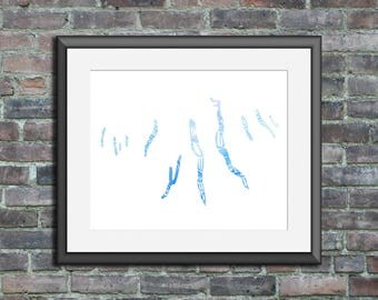 Finger Lakes watercolor typography map art unframed print poster wedding engagement graduation gift anniversary wall art decor lake house