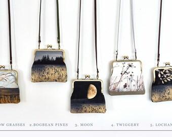 Cross-body shoulder bag with kisslock purse frame, moon, reeds, loch, lake, natural landscape