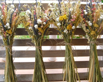 10 Warm Summer Wildflower Pink and Yellow Wedding  Bridesmaids Bouquets of  Lavender Larkspur Dried Flowers