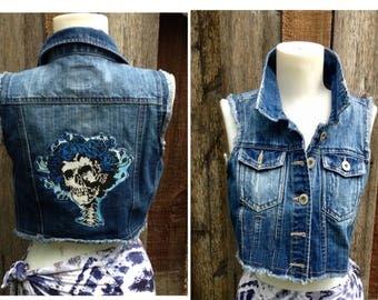 Vest, Skeleton Patch, Ready to ship, hippie vest, women's Bertha Vest, Denim vest, Small Medium L Grateful Dead