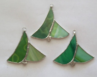 Tiny trees ornament set 3 stained glass Christmas tree ornaments