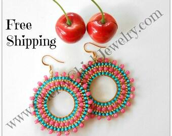 Seed Beaded Bohemian Hoop Earrings - Seed Beaded Hoops - Hoop Earrings - Beaded hoop earrings - Seed Bead Earrings - Free Shipping