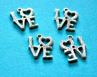 Retro Robert Indiana Style Love Charms Made in USA Set of 6 Choice of Finish