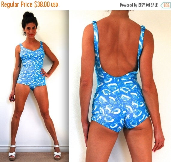 SUMMER SALE / 20% off Vintage 60s 70s Pool Party Aqua and White Abstract Maillot (size medium)