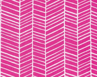 Joel Dewberry Fabric, True Colors Collection, Herringbone in Fuchsia pink, cotton quilting fabric -  FAT QUARTER