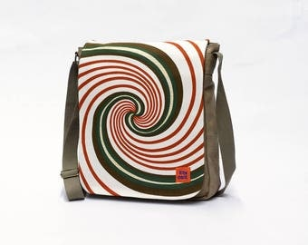 Vintage Fabric Upcycled Canvas Messenger bag - Retro Crossbody bag  - Canvas Shoulder bag by EllaOsix -