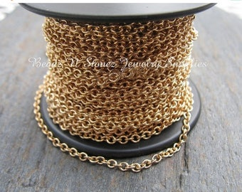 Summer Clearance Sale SPOOL Gold Plated  2.1 x 2.7mm Fine Cable Link Chain