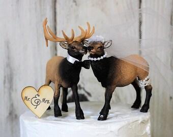 Elk Cake Topper, Wedding Cake Topper, Woodland Cake Topper, Animal Cake Topper, Hunting Cake Topper, Rustic Cake Topper