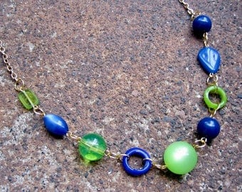 Eco-Friendly Statement Necklace - Key West Memories - Recycled Vintage Chain and Beads in Deep Blue and Lime Green