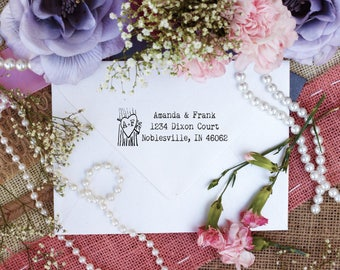 Rustic return address stamp with typewriter font and heart initials Self Inking