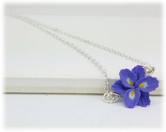 Tiny Purple Freesia Necklace - Freesia Flower Jewelry